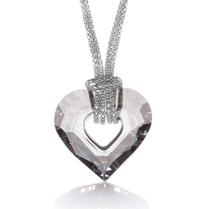 "J-Jaz Sterling Silver Swarovski Crystal Heart Fancy Chain 17"" Necklace - Queen of Silver"