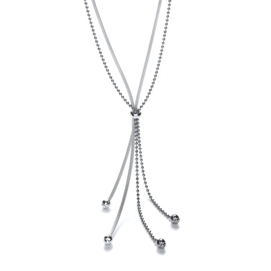 J-Jaz Sterling Silver Fancy Tassel Ruthenium Chain 20