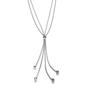"J-Jaz Sterling Silver Fancy Tassel Ruthenium Chain 20"" Necklace - Queen of Silver"