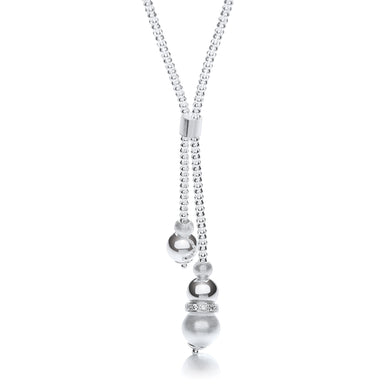 J-Jaz Sterling Silver Mil-grain Ball & Moondust Beads Drop Chain 17