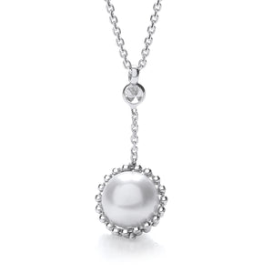 "J-Jaz Sterling Silver Swarovski Pearl & CZ Drop 17"" Necklace - Queen of Silver"