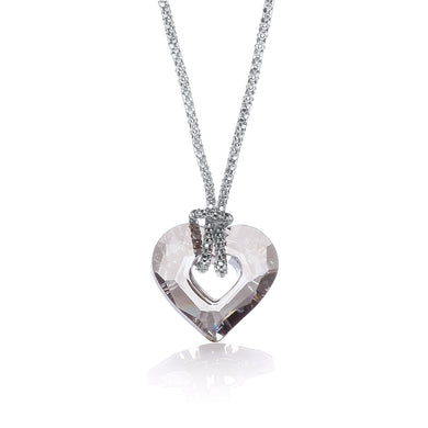 J-Jaz Sterling Silver Small Swarovski Crystal Heart Fancy Chain 17