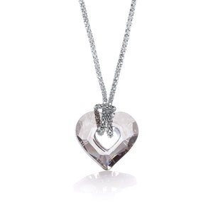 "J-Jaz Sterling Silver Small Swarovski Crystal Heart Fancy Chain 17"" Necklace - Queen of Silver"