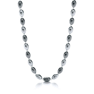 "J-Jaz Sterling Silver & Ruthenium Oval Bead 36"" Necklace - Queen of Silver"
