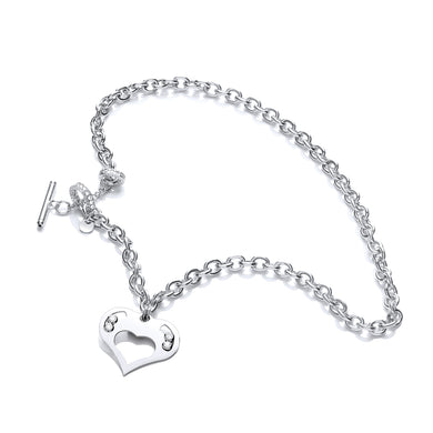 J-Jaz Sterling Silver Floating Swarovski Heart 18