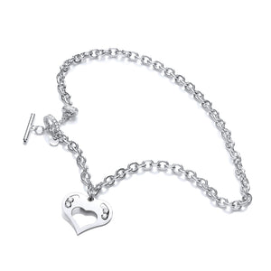 "J-Jaz Sterling Silver Floating Swarovski Heart 18"" T-Bar Necklace - Queen of Silver"