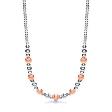 J-Jaz Sterling Silver & Rose Gold Plated Beaded 17