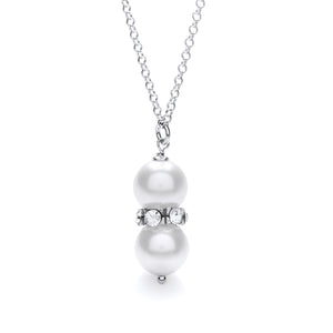 "J-Jaz Sterling Silver Swarovski Glass Pearl with Crystals 18"" Necklace - Queen of Silver"