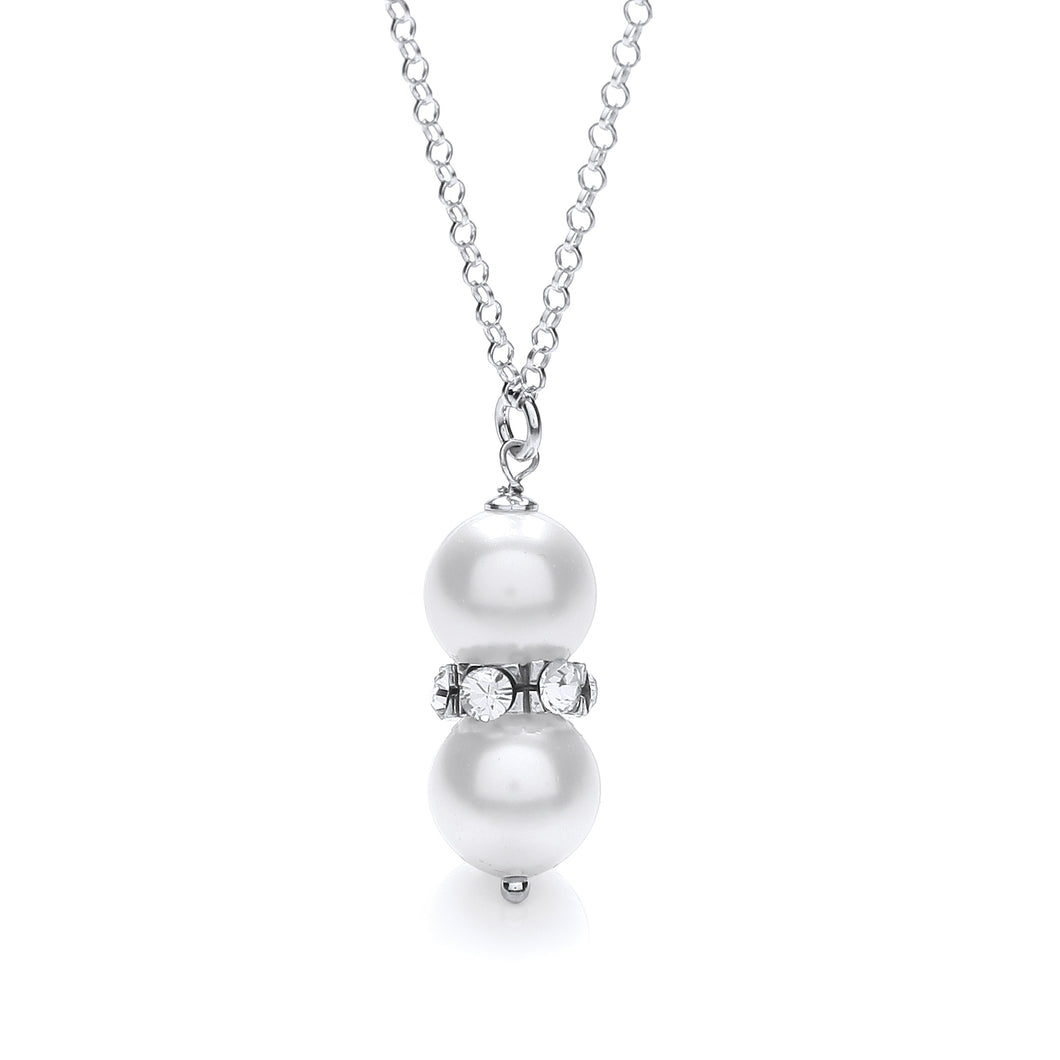 J-Jaz Sterling Silver Swarovski Glass Pearl with Crystals 18