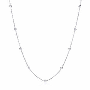 "J-Jaz Sterling Silver Rubover Cubic Zirconia 18"" Necklace - Queen of Silver"