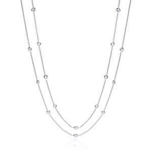 "J-Jaz Sterling Silver Rubover Cubic Zirconia 38"" Long Necklace - Queen of Silver"