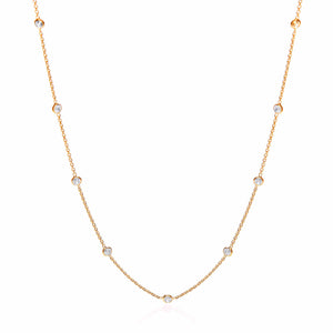 "J-Jaz Sterling Silver & Gold Plated Rubover Cubic Zirconia 18"" Necklace - Queen of Silver"