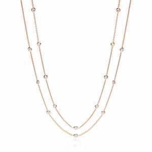 "J-Jaz Sterling Silver & Gold Plated Rubover Cubic Zirconia 38"" Long Necklace - Queen of Silver"