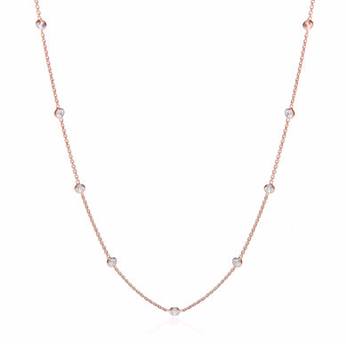 J-Jaz Sterling Silver & Rose Gold Plated Rubover Cubic Zirconia 18