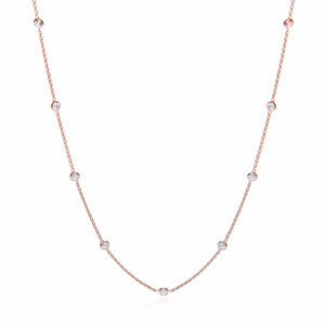 "J-Jaz Sterling Silver & Rose Gold Plated Rubover Cubic Zirconia 18"" Necklace - Queen of Silver"