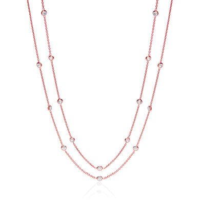 J-Jaz Sterling Silver & Rose Gold Plated Rubover CZ 38