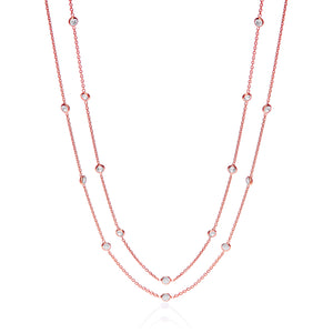 "J-Jaz Sterling Silver & Rose Gold Plated Rubover CZ 38"" Long Necklace - Queen of Silver"