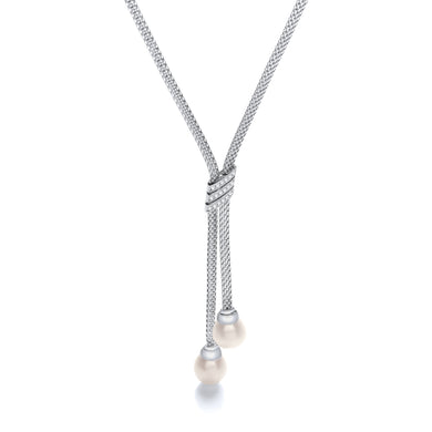 J-Jaz Sterling Silver Freshwater Pearl Drop CZ Mesh Necklace - Queen of Silver