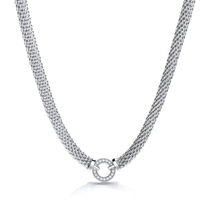 "J-Jaz Sterling Silver CZ Circle Centre 17"" Mesh Necklace - Queen of Silver"
