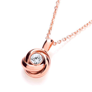 "J-Jaz Sterling Silver Rose Gold Plated CZ Solitaire Knot Pendant 17"" Necklace - Queen of Silver"