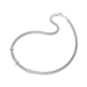 "J-Jaz Sterling Silver Three CZ Row 17"" Mesh Necklace - Queen of Silver"