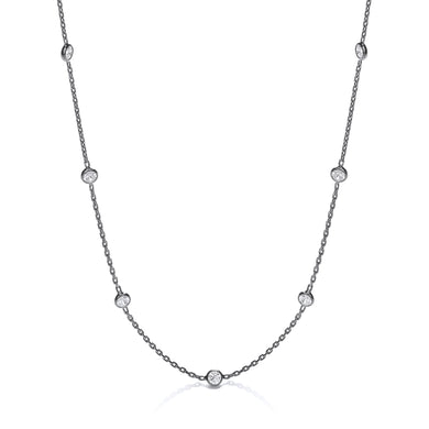 J-Jaz Sterling Silver & Ruthenium Plated Rubover CZ 18