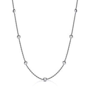 "J-Jaz Sterling Silver & Ruthenium Plated Rubover CZ 18"" Necklace - Queen of Silver"