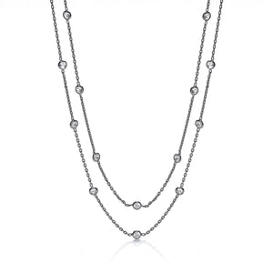 "J-Jaz Sterling Silver & Ruthenium Plated Rubover CZ 38"" Long Necklace - Queen of Silver"