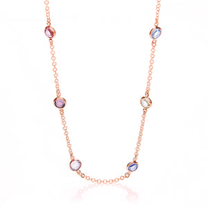 "J-Jaz Sterling Silver & Rose Gold 18"" Multi Colour CZ Necklace - Queen of Silver"
