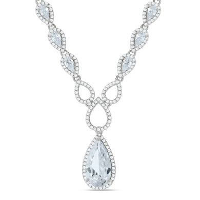 J-Jaz Sterling Silver Pear & Teardrop CZ 18