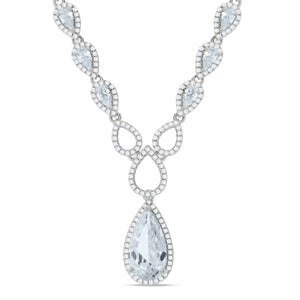 "J-Jaz Sterling Silver Pear & Teardrop CZ 18"" Ornate Necklace - Queen of Silver"