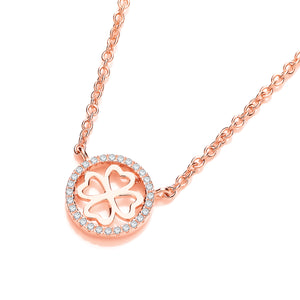 J-Jaz Sterling Silver & Rose Gold Plated Four Leaf Clover CZ Halo Necklace - Queen of Silver