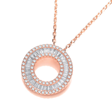 J-Jaz Sterling Silver & Rose Gold Plated Circle of Life CZ Necklace - Queen of Silver