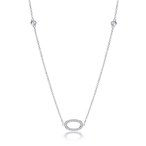 "J-Jaz Sterling Silver CZ Oval Shaped 36"" Necklace - Queen of Silver"
