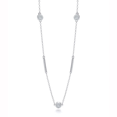 J-Jaz Sterling Silver CZ Halo & Rows 36