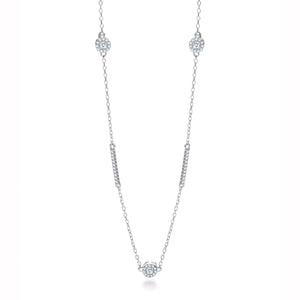 "J-Jaz Sterling Silver CZ Halo & Rows 36"" Necklace - Queen of Silver"