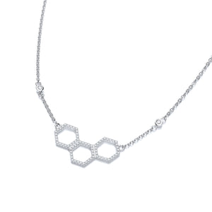 "J-Jaz Sterling Silver CZ Honeycomb Design 17"" Necklace - Queen of Silver"