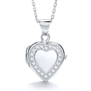 "J-Jaz Sterling Silver CZ Heart Locket & 16"" to 18"" Chain - Queen of Silver"