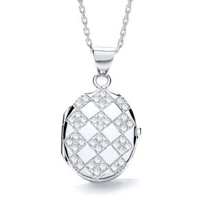 "J-Jaz Sterling Silver Crosshatch CZ Oval Locket & 16"" to 18"" Chain - Queen of Silver"