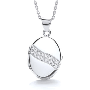 "J-Jaz Sterling Silver Two Row CZ Oval Locket & 16"" to 18"" Chain - Queen of Silver"