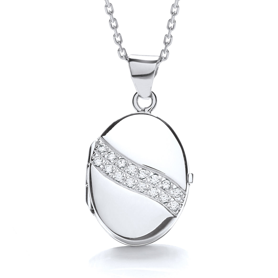 J-Jaz Sterling Silver Two Row CZ Oval Locket & 16