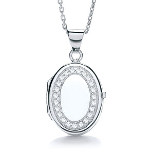 "J-Jaz Sterling Silver Cubic Zirconia Oval Locket & 16"" to 18"" Chain - Queen of Silver"