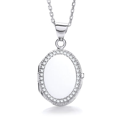 J-Jaz Sterling Silver Cubic Zirconia Border Oval Locket & 16