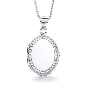 "J-Jaz Sterling Silver Cubic Zirconia Border Oval Locket & 16"" to 18"" Chain - Queen of Silver"