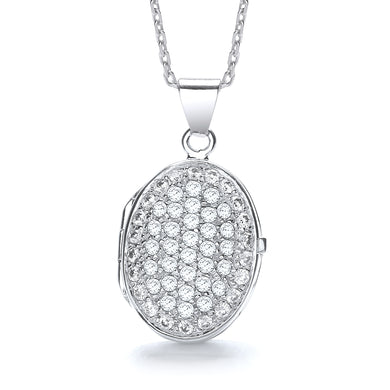 J-Jaz Sterling Silver Full CZ Oval Locket & 16