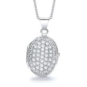 "J-Jaz Sterling Silver Full CZ Oval Locket & 16"" to 18"" Chain - Queen of Silver"