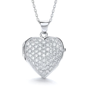 "J-Jaz Sterling Silver Full CZ Large Heart Locket & 16"" to 18"" Chain - Queen of Silver"
