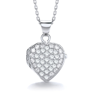J-Jaz Sterling Silver Full CZ Small Heart Locket & 16