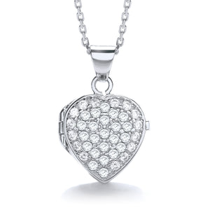 "J-Jaz Sterling Silver Full CZ Small Heart Locket & 16"" to 18"" Chain - Queen of Silver"