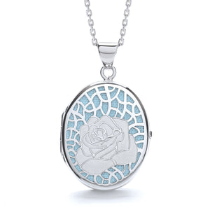 "J-Jaz Sterling Silver Rose on Blue Oval Locket & 16"" to 18"" Chain - Queen of Silver"